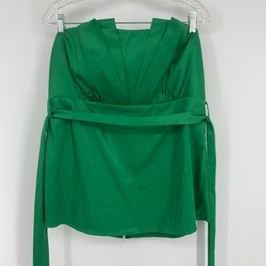Torrid green strapless top size 2